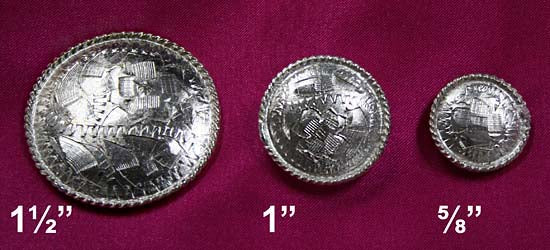 Fancy Silver Rope Edge Conchos with Screw Back