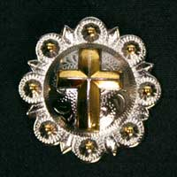 "Silver Gold Cross Concho 1-1/4"" Free Ship"