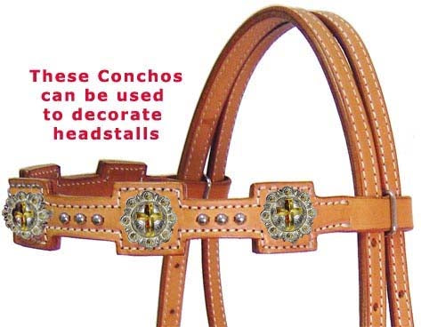 Silver Gold Cross Concho 1-1/4