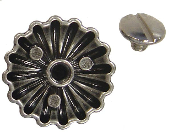 "Tahoe Tacks Antique Silver Parachute 1.5"" Concho with Screw Back for Western Tack"