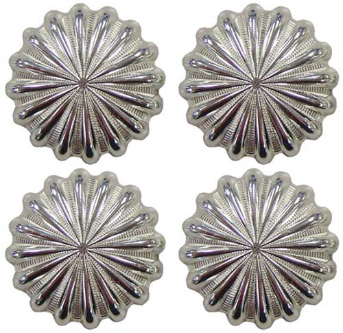 "Shiny Silver Parachute Concho - 1-1/4"" - Set of 4"
