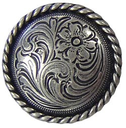 Antique Silver Floral Rope Edge Conchos with Screw Back