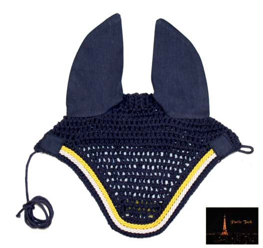 Paris Tack Premium Show Crochet Horse Fly Veil Bonnet with Soft Knit Ears - Provides Protection from Insects without Impairing Vision