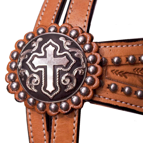 Tahoe Tack Show Studded Crystal Cross Browband Headstall with Matching Reins