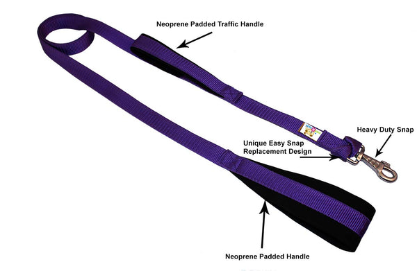 Padded Double Handle Dog Leash Warranted Replaceable Snap 1