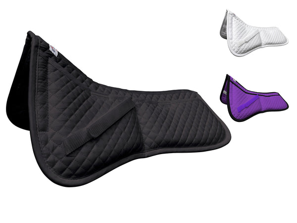 Derby Contoured Correction All Purpose Quilted English Half Saddle Pad with Therapeutic Removable Support Memory Foam Pockets for all Disciplines