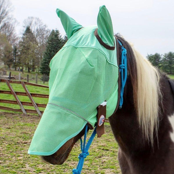 Derby Originals UV-Blocker Premium Reflective Horse Fly Mask with Ears and Nose Cover with One Year Warranty