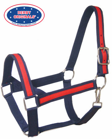 Derby Originals Heavy-Duty Triple Layer Two-Tone Nylon Horse Halters -Multiple Colors
