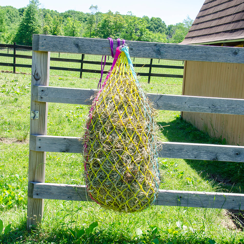 """Derby Originals 42"""" Cotton Candy Slow Feed Poly Rope Hanging Hay Net with  2x2"""" Holes"""