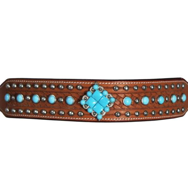 Tahoe Tack Turquoise Collection Show Western Browband Headstall with Matching Split Reins and Breastcollar