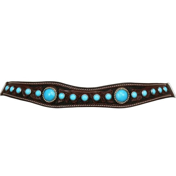 Tahoe Tack Floral Hand Tooled Turquoise Show Spotted Headstall with Matching Reins