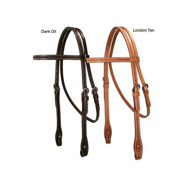 "Tahoe Basket Weave Browband Headstall 3/4"" USA Leather"