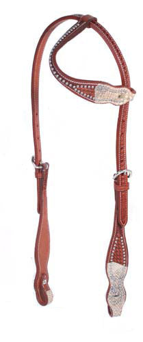 Tahoe Cobra Print Basket Weave Slip Ear Headstall USA Leather