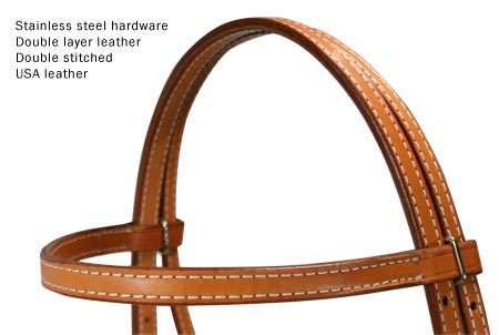 Tahoe Tack USA Leather Double Beauty Western Browband Headstall