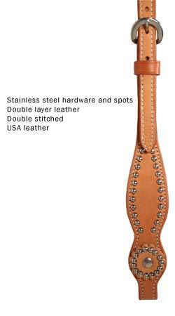Tahoe Tack USA Leather Show Spotted High Country Western Slip Ear Headstall