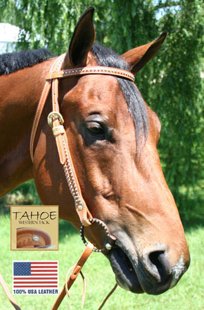 Tahoe Tack USA Leather Mesquite Western Browband Headstall with Rawhide Accents