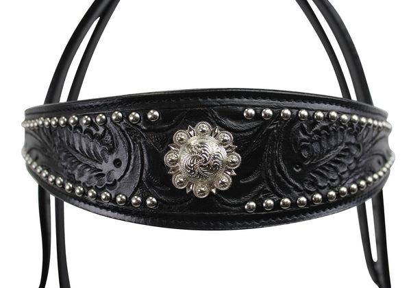 Tahoe Tack Black Show Studded Midnight Western Browband Headstall with Matching Reins