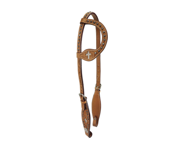 Tahoe Tack Show Crystal Cross Hand-Tooled Western Slip Ear Headstall