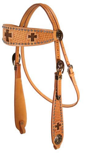 Tahoe Tack Sunspots Basket Tooled Cross Inlay Western Browband Headstall