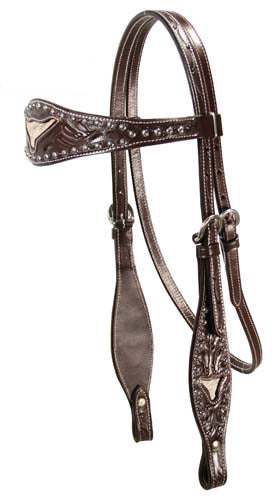 Tahoe Sunspots Floral Tooled Longhorn Inlaid Headstall