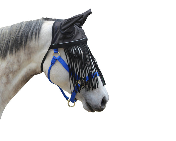 Derby Originals Premium Reflective Mesh Horse Fly Bonnet with Fringe and Soft Mesh Ears