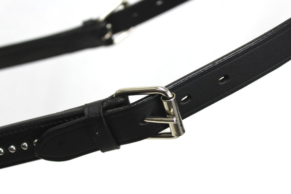 Derby Originals New and Improved Premium Show Spotted Flat Leather Cattle Show Halter with Matching Chain Lead - One Year Limited Manufacturer's Warranty