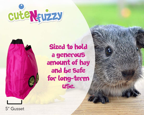 CuteNfuzzy Large Hay Bag for Rabbits and Guinea Pigs with 6 Month Warranty 15x15x5
