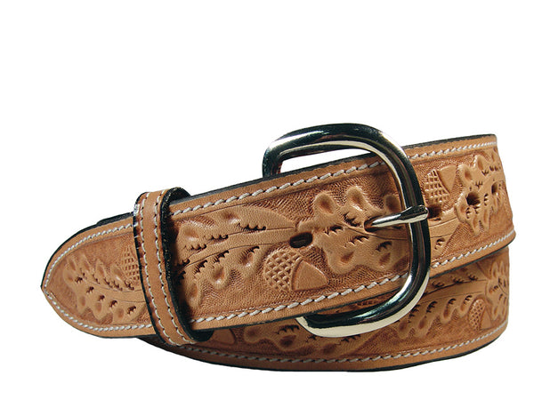 "Tapered USA Leather Acorn Tooled Western Belt with 1"" Buckle"