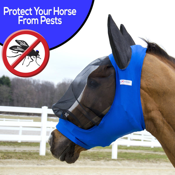 Derby Originals UV-Blocker Extra Comfort Soft Mesh Lycra Horse Fly Mask with Ears with One Year Warranty - Multiple Colors and Sizes