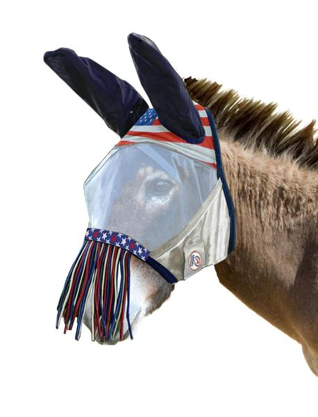 Derby Originals UV-Blocker Premium Reflective Mule Fly Mask with Ears and Nose Fringe with One Year Warranty