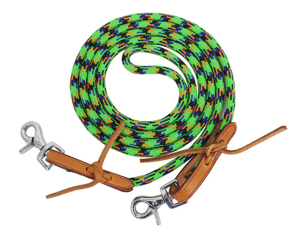 Tahoe Tack Nylon Barrel Reins with USA Leather Ends Closeout