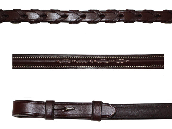 PT Classic Stitch Raised Laced Reins for English Bridles Havana