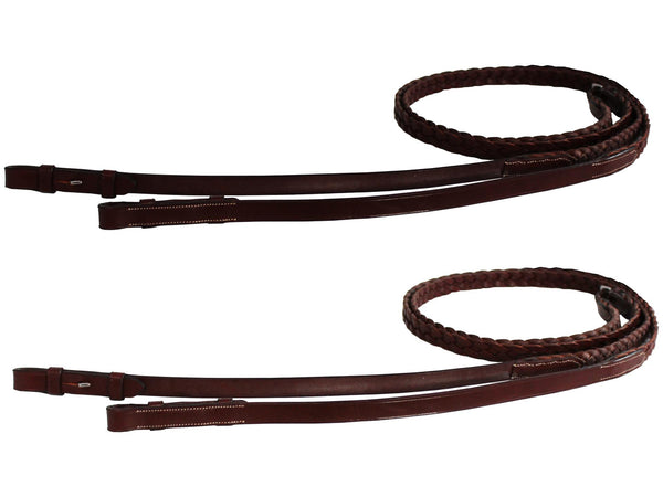 Paris Tack Braided Leather Reins for English Bridles
