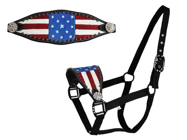 Tahoe Tack Patriotic Hand-Painted American Flag Bronc Halter with Crystals