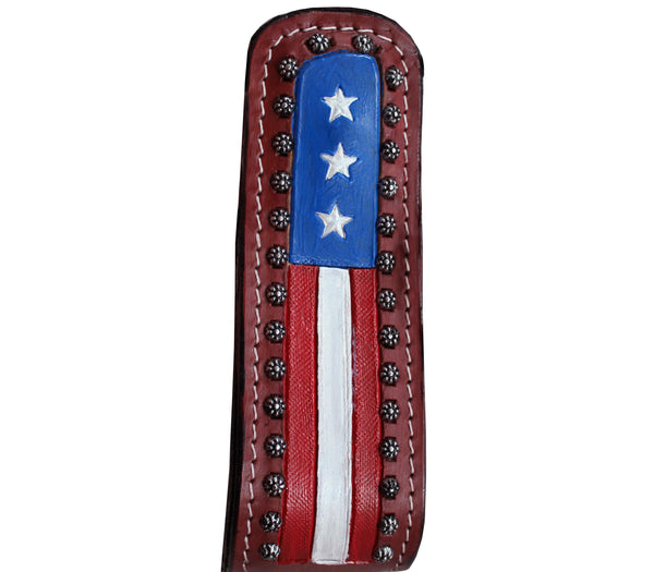 Tahoe Patriotic American Flag Leather Western Stirrups - Pair