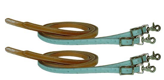 Ostrich Print Matching Split Reins (Pair) - USA Leather