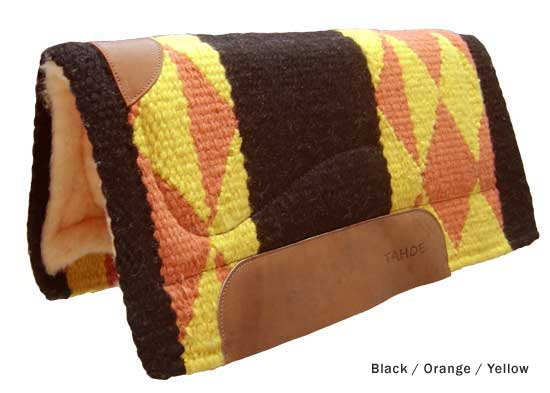 "Tahoe Tack Pony Sized Heavy-Duty Shock-Absorbing Fleece Backed 24x24"" Pure New Zealand Wool Saddle Blanket"