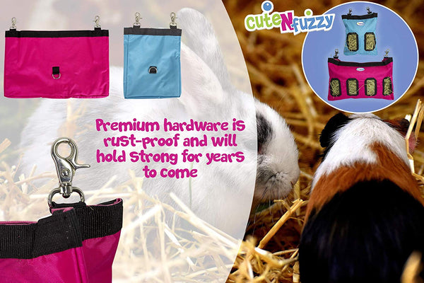 CuteNfuzzy Small Hay Bag for Guinea Pigs and Rabbits with 6 Month Warranty 9x11x1.5