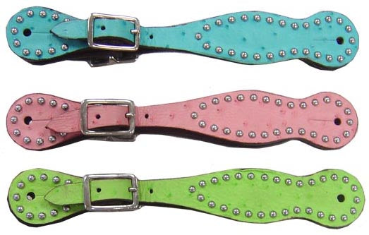 Tahoe Ostrich Print Spur Straps with Spots - Pair