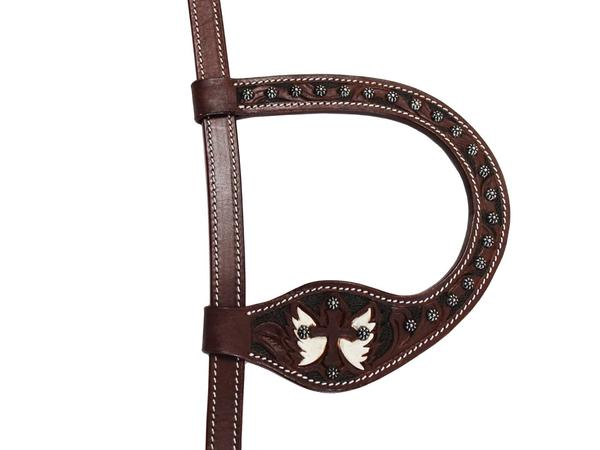 Tahoe Tack Show Spotted Cross with Wings Leather Western Slip Ear Headstall