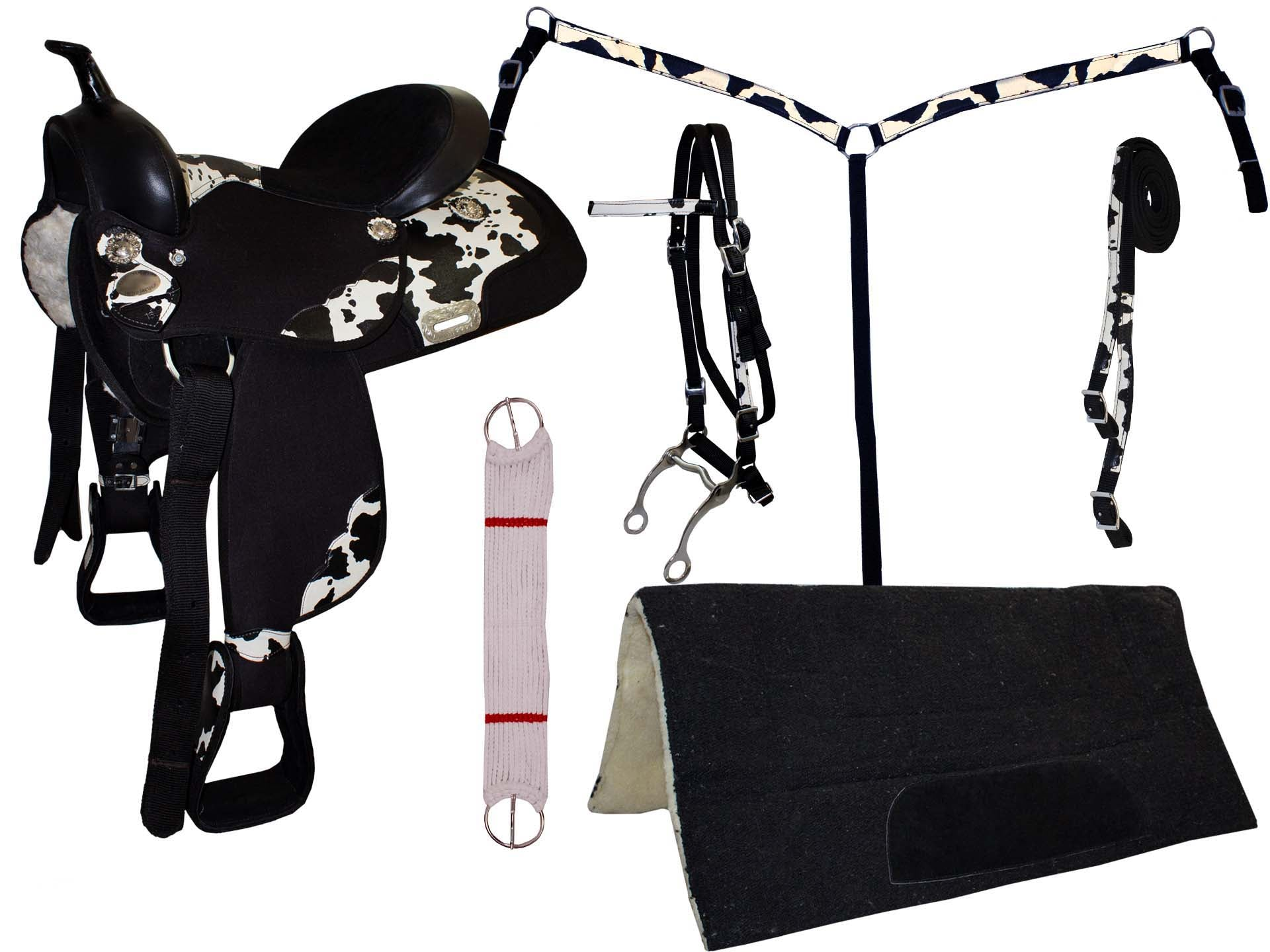 7 Item Synthetic Cow Print Western Saddle Set By Tahoe Derby Originals