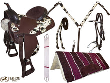 7 Item Synthetic Cow Print Western Saddle Set by Tahoe
