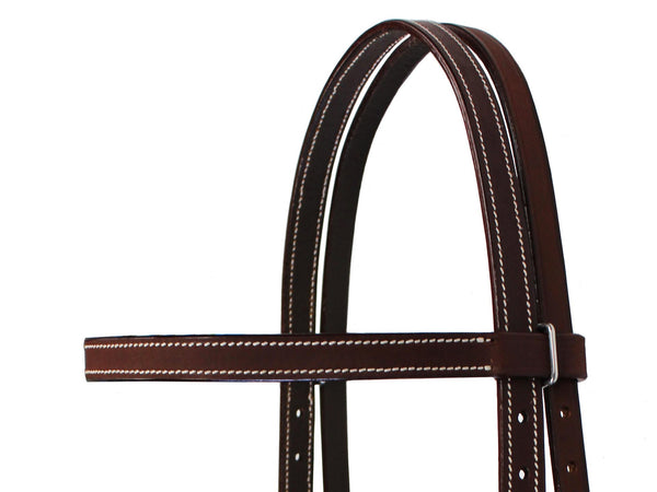 Tahoe Tack Double Stitched Flat Leather Western Browband Headstall