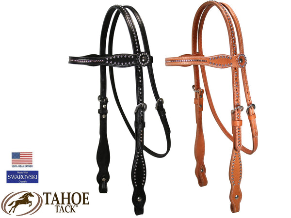 Tahoe Tack Hand-Inlaid Pink Swarovski Crystal Western Headstall and Breast Collar Set