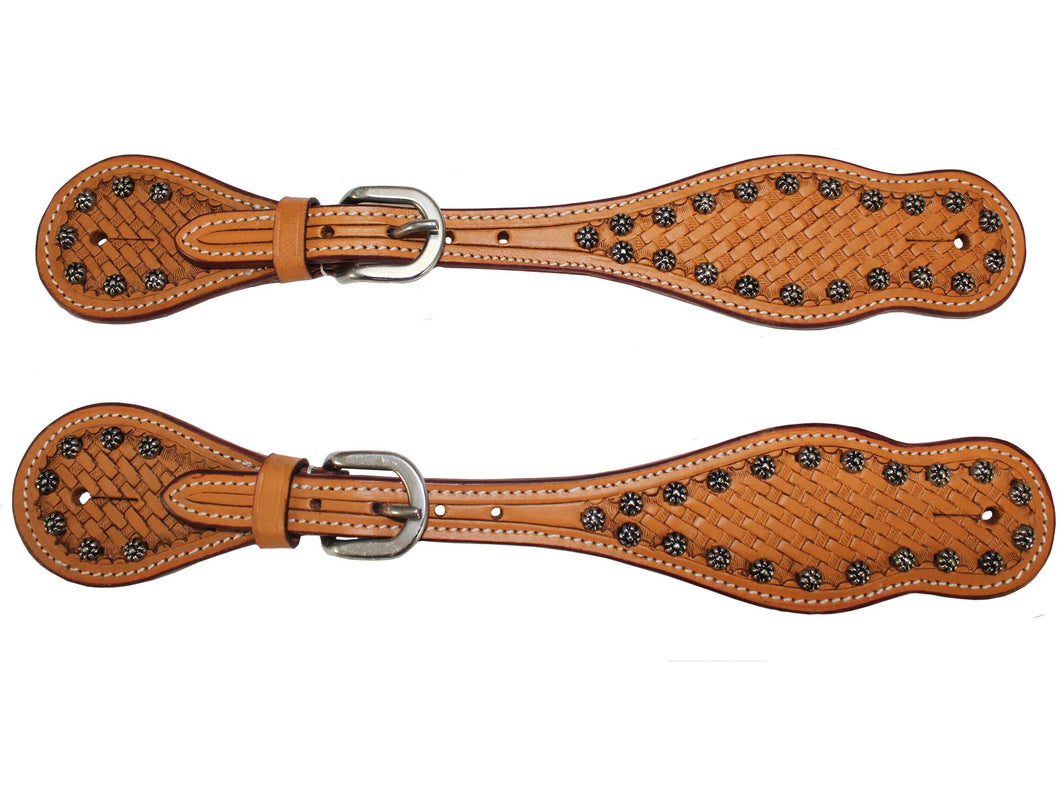 Basket Weave Tooled Spur Straps with Sunspots by Tahoe Pair