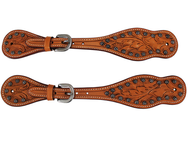 Tahoe Leaf Tooled Western Spur Straps with Sunspots Pair