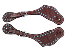 Tahoe Basket Tooled Spur Straps with Turquoise Spots