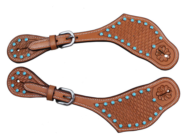 Tahoe Tack Zebra Print Hair On Western Spur Straps with Sunspots