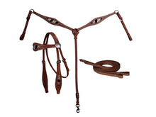 Tahoe Zebra Print Inlaid Headstall Reins & Breast Collar Set