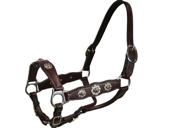 Tahoe Gold Cross Concho Show Halters - USA Leather